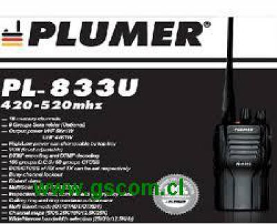 Radiotransmisor portátil Marca Plumer modelo PL-833 UHF 450-520mhz, 4w, 16 canales